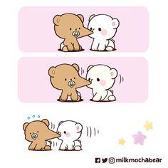 Come back 🐻 wanna nom nom ur cheeks 😋 Cute Couple Comics, Cute Couple Cartoon, Cute Comics, Cute Love Gif, Cute Love Pictures, Cute Cartoon Images, Cute Cartoon Wallpapers, Niedlicher Panda, Doodles Bonitos
