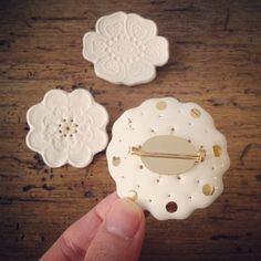 Kimiko Suzuki White Porcelain Ceramic Brooches