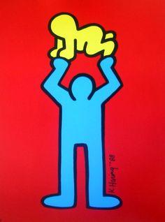 Keith HARING : Sans Titre 1988 (Bébé jaune sur fond rouge)