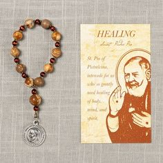 Padre Pio Healing Decade Rosary with Prayer Card This thoughtful rosary and card set comes with a handcrafted rosary and a sturdy prayer card, . Best Friend Gifts, Gifts For Friends, Rosary Prayer, Beautiful Prayers, Diamond Cross Necklaces, Prayers For Healing, Friendship Necklaces, Prayer Cards, Love Necklace