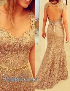 prom dress 2015, sexy golden backless sweetheart lace mermaid prom dress, ball gown, evening dress, cute+dresses+for+tens #promdress