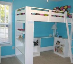 Ana White DIY Loft Bed--I like the bookcase sides on this better then the one we bought plans for. Would need a staircase on one side tho....I'm not climbing a ladder to change the sheets!
