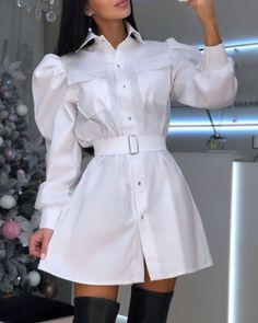 Style:Fashion Pattern Type:Solid Material:Polyester Neckline:Turn-down Collar Sleeve Style:Long Sleeve Length:Mini Occasion:Casual Package Belt) Note: There might be differ. Cute Casual Outfits, White Outfits, Casual Dresses, Mode Streetwear, Women's Fashion Dresses, Pattern Fashion, Clothes For Women, Shirts, Style Fashion