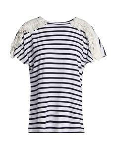CLU T-shirt. #clu #cloth Clu, Round Collar, Ruffles, Short Sleeves, Stripes, Pockets, Cotton, T Shirt, Clothes