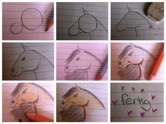 so kannst du in 9 schritten einfach ein Pferd malen 1. Male 2 unterschiedlich große Kreise 2. Male die Umrisse vom Pferd 3. radiere die Kreise weg 5. Male Feinheiten wie Auge etc 6. Male die Mähne 7. Male mir Farbe kräftig die Schattierungen 8. Male die Mähne und dass Fell bunt an 9. fertig