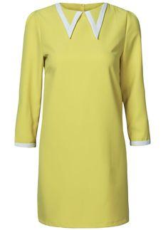 Vestido solapa mangas largas-Amarillo EUR25.58