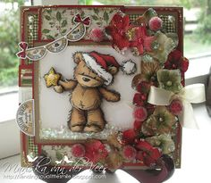 The cute stamp is by Lili of the Valley, it was colored with Copic Markers and 3D paper pieced. More info on my blog.