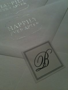 monogram stickers & stamps on wedding envelopes