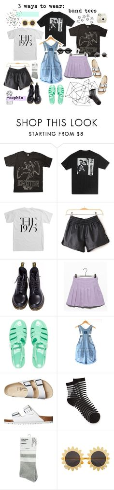 """""""3 ways to wear: Band Tees"""" by dear-fashion ❤ liked on Polyvore featuring Dr. Martens, JuJu, Birkenstock, American Apparel, Fujifilm and H&M"""