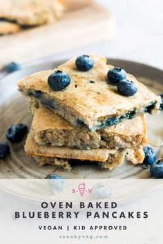 Tired of standing over the stove making pancakes one-by-one? Then it's time for you to try oven baked pancakes! These vegan blueberry sheet pan pancakes are made in the same way as regular pancakes but cooked all at once on a single baking tray in the oven. Perfect for busy mornings. #veganpancakes #sheetpanpancakes #blueberrypancakes #ovenbakedpancakes #veganbreakfast Vegan Pancake Recipes, Healthy Breakfast Recipes, Vegan Recipes Easy, Healthy Baking, Kid Recipes, Healthy Breakfasts, Fruit Recipes, Kitchen Recipes, Healthy Kids