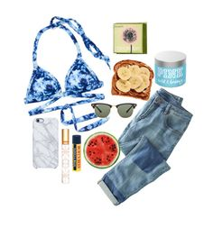 """""""beachy morning"""" by addiep03 ❤ liked on Polyvore featuring Victoria's Secret PINK, Wrap, Uncommon, Ray-Ban, Tory Burch, Burt's Bees, Benefit, women's clothing, women's fashion and women"""
