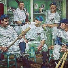 The Murderer Row. Baseball Art, Baseball Jerseys, Baseball Players, Pete Rose, Lou Gehrig, Joe Dimaggio, Mickey Mantle, Babe Ruth, Derek Jeter