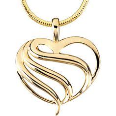 14K Yellow Gold Polished Fashion Heart Pendant