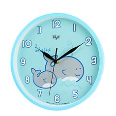 Children Kids Wall Clock -SILENT- 10 Inch- Metal Frame - Ocean Themed - Best Child Bedroom Décor Ideas/ Baby Nursery Shower Gifts for Boys/Girls/Toddler (Mommy & Me Whale)