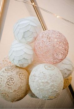 Paper Lantern Wedding Reception Decorations | These stunning lace and paper lanterns will look gorgeous whether you ...