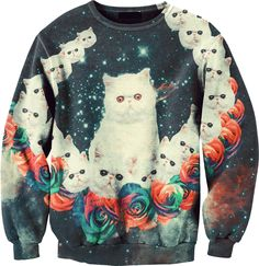 "Obviously, this needs to be added to the ""crazy"" cat lady collection. Product description: ""So nasty cute cats, all over the jumper along with the galaxy space. Complete MUST HAVE!"""