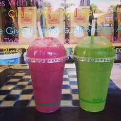 Green and Red smoothies from Raw Bars, Byron Bay, How To Stay Healthy, Smoothies, Tableware, Green, Smoothie, Dinnerware, Tablewares