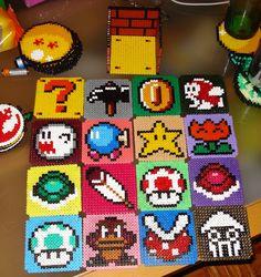 Super Mario coasters set hama beads by Maria Diz - Maybe make into a crochet pattern.