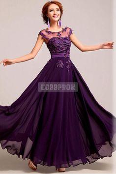 A-line See-through Floor-length Sleeveless Applique Prom Dress