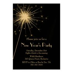 Sparkler New Year's Eve Party Invitation in gold