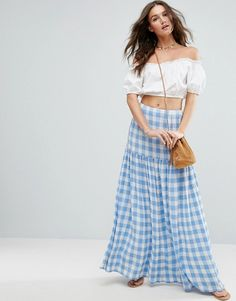 ASOS High Waisted Maxi Skirt in Blue Gingham