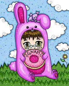 Coniglio Rosa. Vecchia illustrazione realizzata con photoshop. #giuliabasolugrafica #graphic #illustration #drawing #photoshop #digitalart #bunny #pink #cute #donut