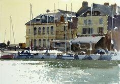 John Yardley (b. 1933, UK) The Hotel de Ville, Honfleur. watercolour. 14 x 20 in.