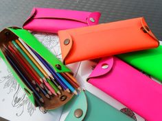 Thick leather handmade pencil cases