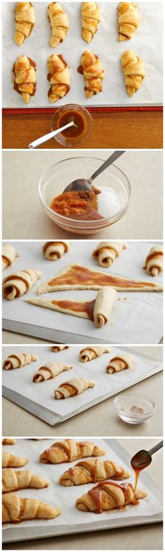 Pillsbury crescents stuffed with a sweet pumpkin filling and topped with a salted caramel drizzle!