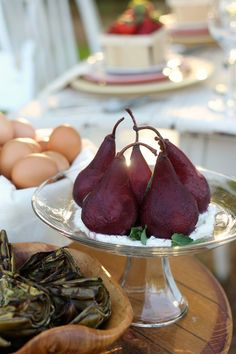 Pinot Noir Poached Pears - A beautiful Christmas Holiday Recipe