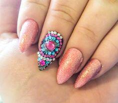 Pink Fake Nail Set  Glitter False Nails  by LetThemSparkle on Etsy