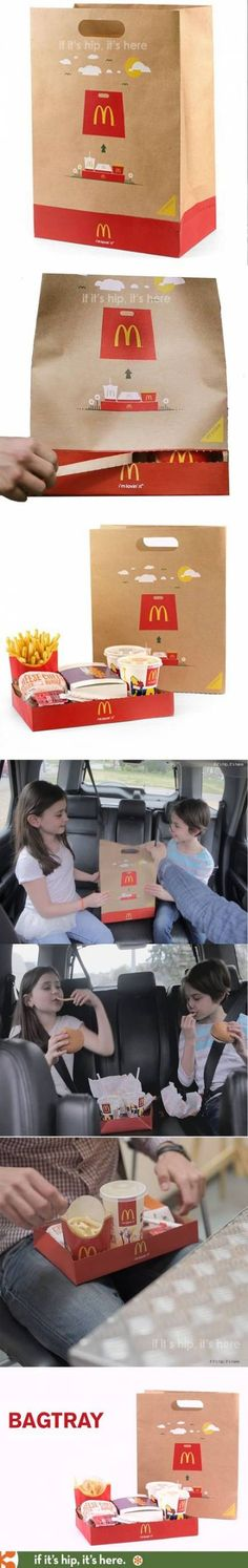 McDonalds BagTray Is An Ingenious Invention. The Ingenious BagTray for McDonald's.The Ingenious BagTray for McDonald's. Innovative Packaging, Cool Packaging, Food Packaging Design, Packaging Design Inspiration, Brand Packaging, Takeaway Packaging, Packaging Ideas, Mcdonalds, Food Design