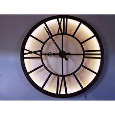 London Large Wrought Iron Effect Urban Chic Illuminated Wall Clock
