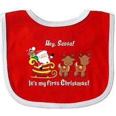 dc3d07e9b3b Inktastic Hey Santa Its My First Christmas Baby Bib Christmas Childrens Bear