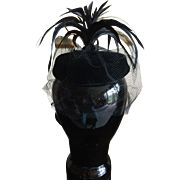 1950s Black velvet feathered veiled Mad Man cocktail hat