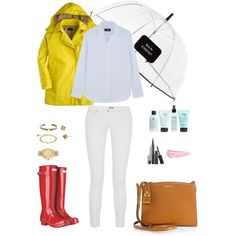 #25 Spring Showers by ultimateprep on Polyvore featuring polyvore, fashion, style, A.P.C., J.Crew, Chan Luu, Hunter, Michael Kors, David Yurman, Kate Spade, By Terry and philosophy