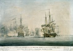 A View of the Attack Made by the British Fleet Under the Command of Sir Peter Parker against Fort Moultrie on Sullivans Island June and a distant View of the Transports in Five Fathom hole, by Nicholas Pocock Sullivans Island, University Of South Carolina, American Revolution, Savannah Chat, Sailing Ships, Charleston, Battle, British, Boat