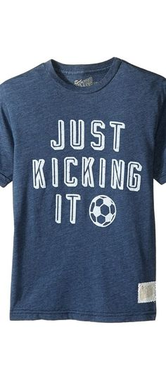 The Original Retro Brand Kids Just Kicking It Short Sleeve Heathered Soccer Tee (Big Kids) (Heather Navy) Boy's T Shirt - The Original Retro Brand Kids, Just Kicking It Short Sleeve Heathered Soccer Tee (Big Kids), RB130B-RTF3196A-607, Apparel Top Shirt, T Shirt, Top, Apparel, Clothes Clothing, Gift, - Fashion Ideas To Inspire