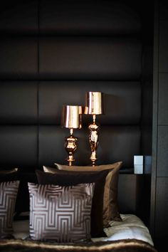 gold black and pewter colour palette - luxurious bedroom