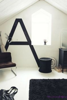 black & white decor, could use chock board paint
