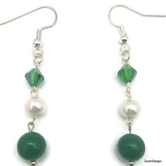 Green and White Dangle Earrings Green Aventurine by ZaverDesigns