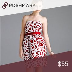 "Antonio Melani Red Grosgrain Trim Brocade dress Removable straps, pockets, back zipper closure. Comes with Dillard's protective bag and hanger. NWT, style is called ""Ginger"". No trades but offers are welcome! Please let me k know if u have any questions. ANTONIO MELANI Dresses Midi"
