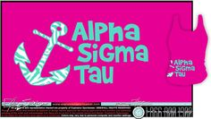 Alpha Sigma Tau. Love the anchor with the blue & white zebra print!
