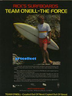 Vintage Surfing Ad (1977): Rick's Surfboards. O'Neill. Hang Ten.