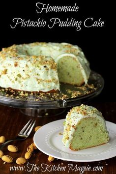 Homemade Pistachio Pudding Cake - pistachio pudding is added to a from-scratch cake making it THE best dessert you'll ever eat! FromHomemade Pistachio Pudding Cake - pistachio pudding is added to a from-scratch cake making it THE best dessert you'll ever eat! From@The Kitchen Magpie