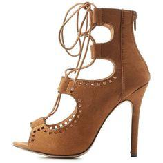 61bd42d367b Charlotte Russe Laser-Cut Lace-Up Peep Toe Heels ( 41) ❤ liked