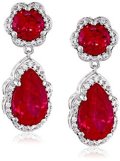 "CZ by Kenneth Jay Lane ""Classic"" Round, Pear and Pave Cubic Zirconia Post Drop Earrings, 8 CTTW"