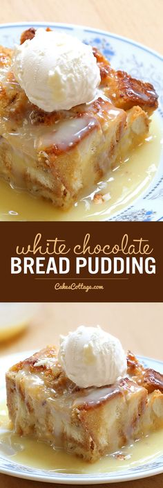 White Chocolate Bread Pudding - Cakescottage Rich, warm and comforting white chocolate pudding, served with decadent semi-sweet white chocolate sauce, represents everything I love about the holidays. White Chocolate Sauce, Chocolate Blanco, Chocolate Chocolate, Easy White Chocolate Bread Pudding Recipe, Moist Bread Pudding Recipe, Bread Pudding Sauce, Chocolate Pudding Desserts, White Chocolate Desserts, Köstliche Desserts