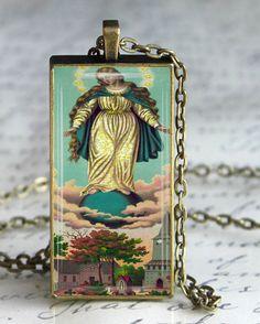 Queen of Heaven Necklace Religious Virgin by DesignsofFaithandJoy