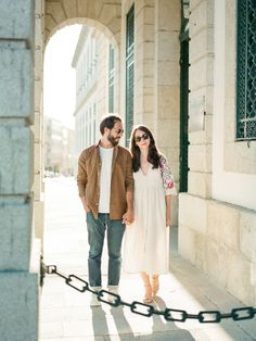 Street style photography with a romantic couple in the warm summer sun in Porto Lisbon Portugal, Romantic Couples, Summer Sun, Engagements, Destination Wedding Photographer, Couple Photography, Street Style, Warm, Couple Photos